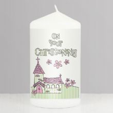 Pink Christening Church Candle    NP0409A65
